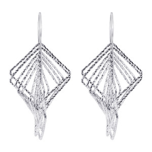 Rhodium Plated Sterling Silver Hollow Square Hoops Drop Earrings