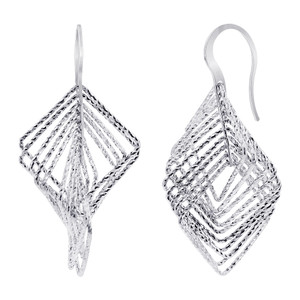 Rhodium Plated Over 925 Sterling Silver Square Hollow Hoops Drop Earrings