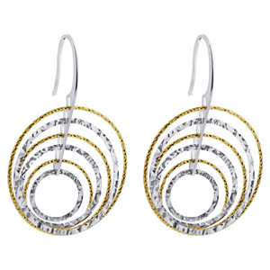Rhodium Plated Sterling Silver Two tone Dangling Hoops Drop Earrings #AZES007