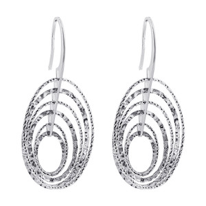 Rhodium Plated 925 Sterling Silver Hollow Oval Hoops Drop Earrings #AZES010