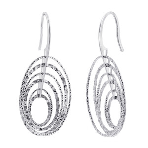 Rhodium Plated Over 925 Sterling Silver Oval Hollow Hoops Drop Earrings