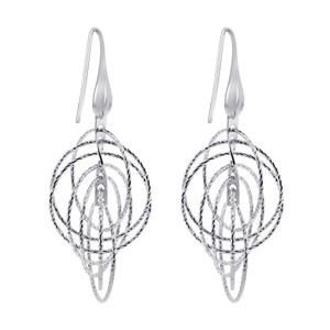 Rhodium Plated Sterling Silver Hollow Round Hoops Drop Earrings #AZES018