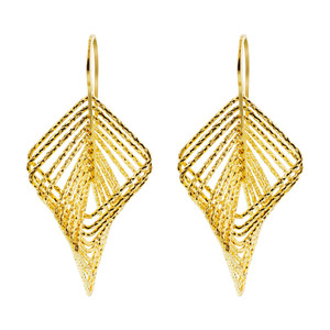 Yellow Gold over Sterling Silver Vermeil Square Hoops Drop Earrings #AZES017