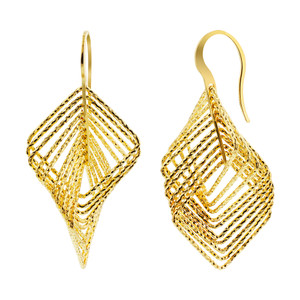 Rhodium Plated Over 925 Sterling Silver Square Vermeil Hollow Hoops Drop Earrings