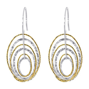 Sterling Silver Two tone Hollow Oval Hoops Ear Wire Drop Earrings