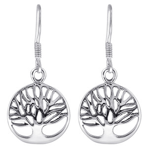 925 Sterling Silver Tree Of Life Design French Wire Drop Earrings