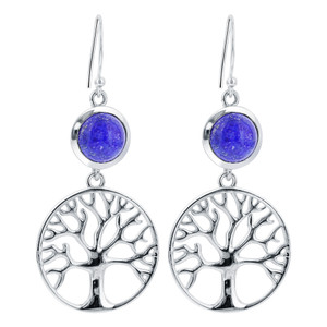 925 Sterling Silver Round Blue Lapis Lazuli Gemstone Drop Earrings #GE050