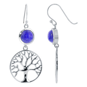 925 Sterling Silver Round Blue Lapis Lazuli Gemstone Drop Earrings