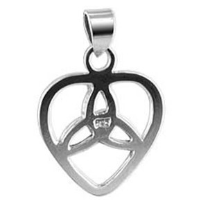 925 Sterling Silver Heart Triquetra Pendant