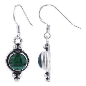 Malachite Gemstone Drop Earrings