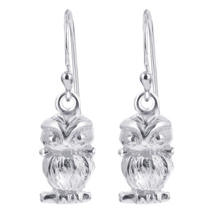 Sterling Silver Owl French Wire Drop Earrings