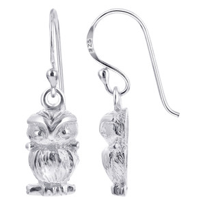 925 Sterling Silver Owl French Wire Drop Earrings