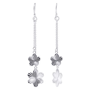 925 Sterling Silver Flower French Wire Dangle Earrings