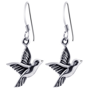 Aerie Bird 925 Sterling Silver French Wire Drop Earrings