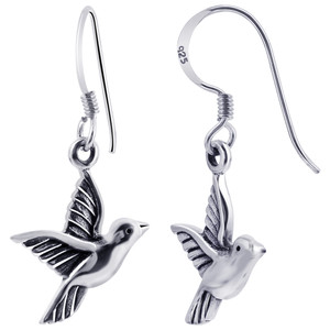 925 Sterling Silver Aerie Bird French Wire Drop Earrings