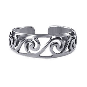 925 Sterling Silver Swirl Toe Ring