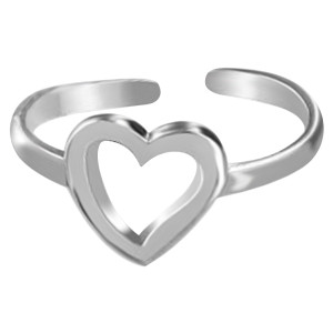 925 Sterling Silver Open Heart Toe Ring