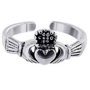 925 Sterling Silver Irish Claddagh Love and Friendship Toe Ring