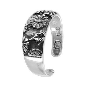 925 Sterling Silver Oxidized Floral 6mm Toe Ring