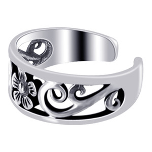 925 Sterling Silver Flower Toe Ring for Women #LWTS032