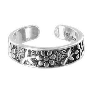 925 Sterling Silver Flowers Toe Rings