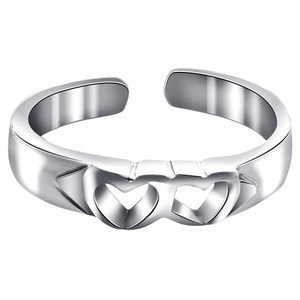 925 Sterling Silver Twin Open Heart Toe Ring