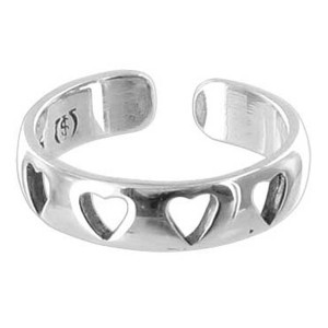 Four Open Hearts Toe Ring