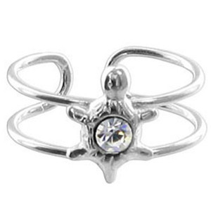 925 Sterling Silver Clear Cubic Zirconia Turtle Toe Ring