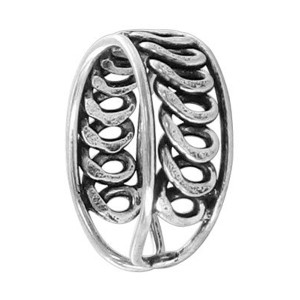 925 Sterling Silver Coiled Design Front Toe Ring
