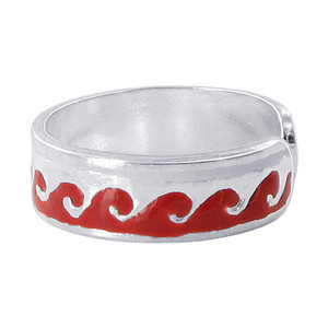 925 Sterling Silver Red Enamel Wave Design 5mm Toe Ring #ZFTS026