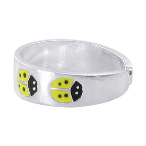 925 Sterling Silver Yellow and Black Enamel Ladybug Design 5mm Toe Ring #ZFTS027