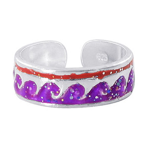 Purple and Red Wave Design Toe Ring