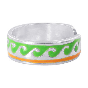 Green and Orange Toe Ring