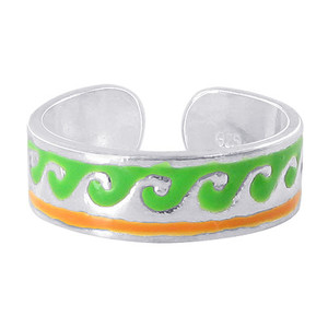 925 Sterling Silver Green and Orange Wave Design Toe Ring