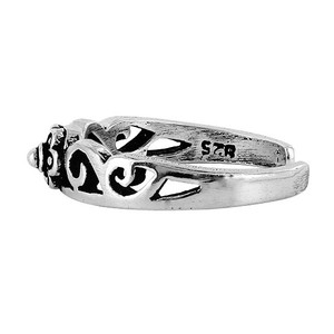 925 Sterling Silver Floral and Swirl Design Toe Ring #PSTS008