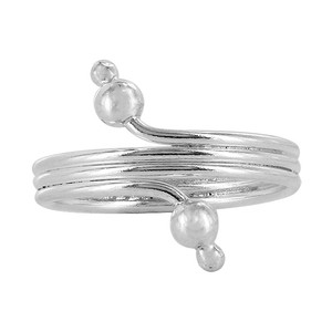 925 Sterling Silver Wire Design with Ball Toe Ring