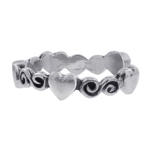 925 Sterling Silver Heart and Swirl Design Toe Ring for Women #LWTS047