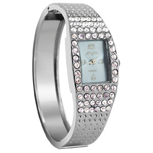 Silver Plated Blue Face Rhinestone Cuff Watch