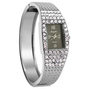 Silver Plated Black Face Rhinestone Cuff Watch