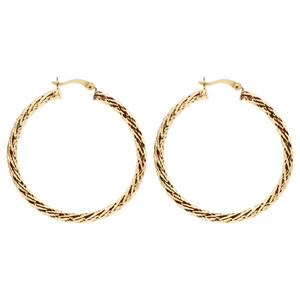 18k Gold Layered Braided Design Earrings (51mm Diameter Hoop) #GE038