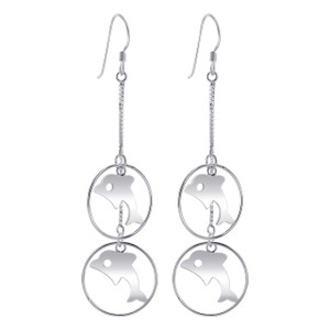 925 Sterling Silver 1mm Box Chain with 19mm Hoop Dolphin French wire Dangle Earrings