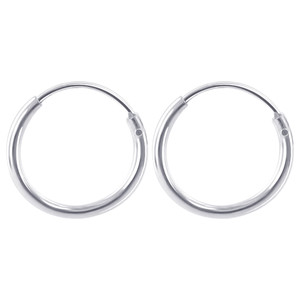 1mm wide Tube 925 Sterling Silver 12mm Hoop Earrings