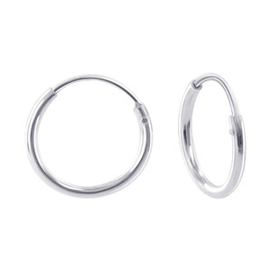 925 Sterling Silver 1mm wide Hoop Earrings (12mm Diameter)