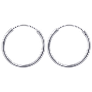 1mm wide Tube 925 Sterling Silver 16mm Hoop Earrings