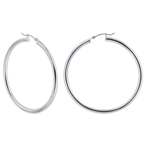 2.5mm wide Tube 925 Sterling Silver 45mm Hoop Earrings