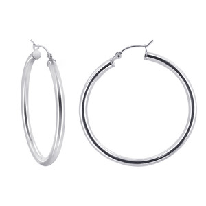 2.5mm wide Tube 925 Sterling Silver 40mm Hoop Earrings