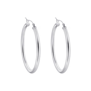 925 Sterling Silver 2.5mm wide Hoop Earrings (35mm Diameter)