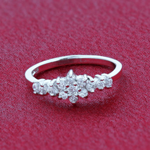 925 Silver Floral Design Petite CZ Ring