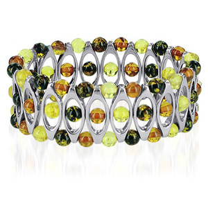925 Sterling Silver Prominent 1 inch Multicolor Amber Bangle Bracelet