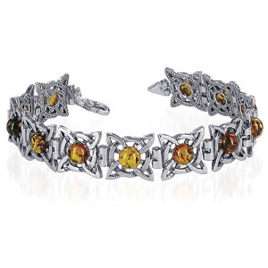 925 Silver Pleasing Round Amber Bangle Bracelet With Lobster Clasp
